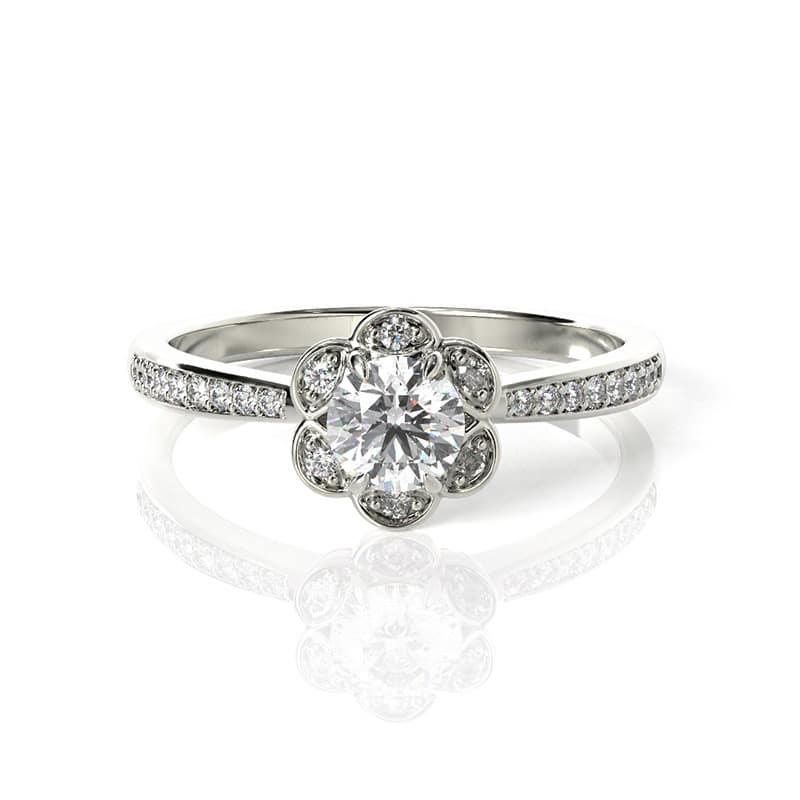 טבעת אירוסין פלמה דה מיורקה זהב לבן, 0.37 קראט