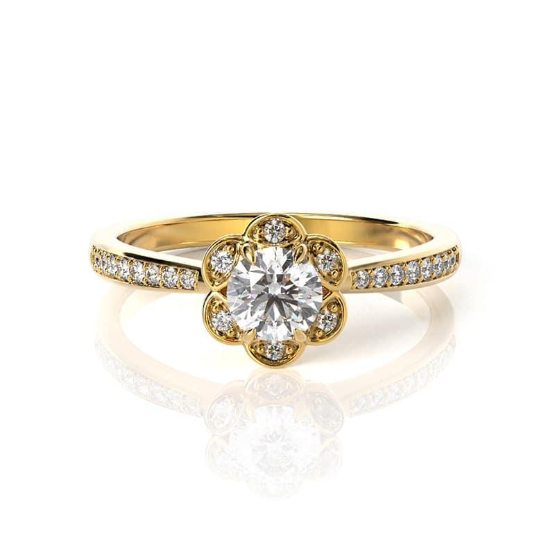 טבעת אירוסין פלמה דה מיורקה זהב צהוב, 0.37 קראט
