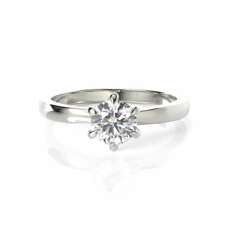 טבעת אירוסין אסן זהב לבן,0.50 קראט