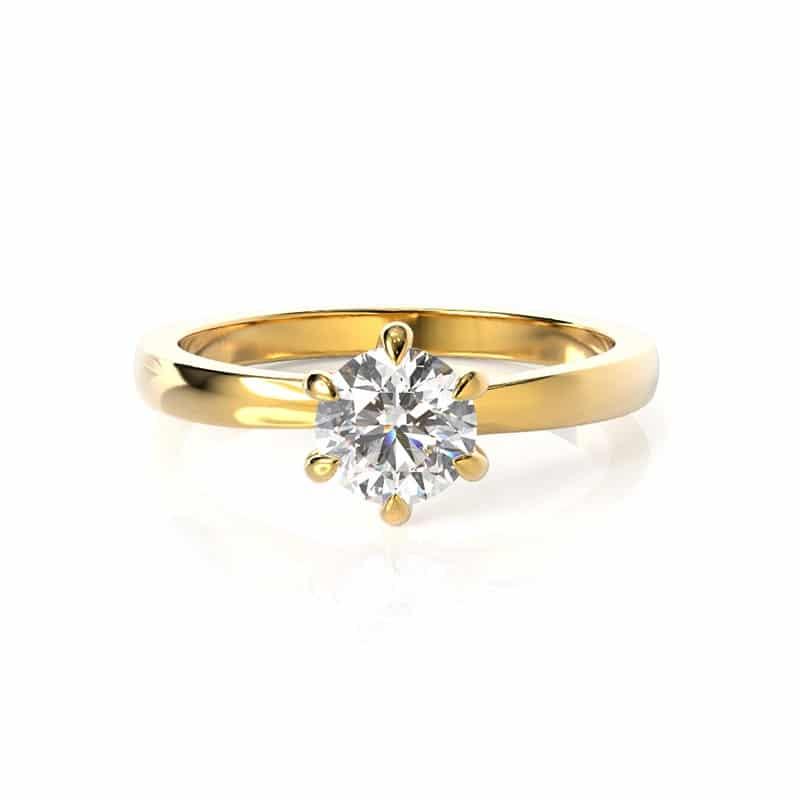 טבעת אירוסין אסן זהב צהוב, 0.50 קראט