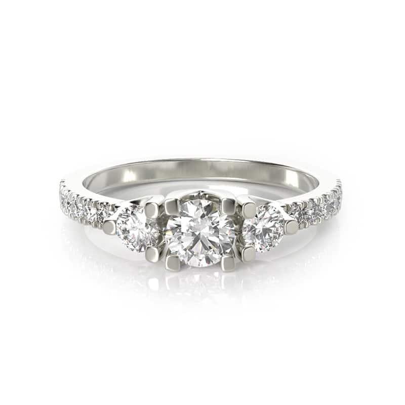 טבעת אירוסין גלוצ'סטר גדולה זהב לבן, 0.71 קראט