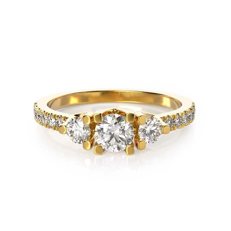 טבעת אירוסין גלוצ'סטר גדולה זהב צהוב, 0.71 קראט