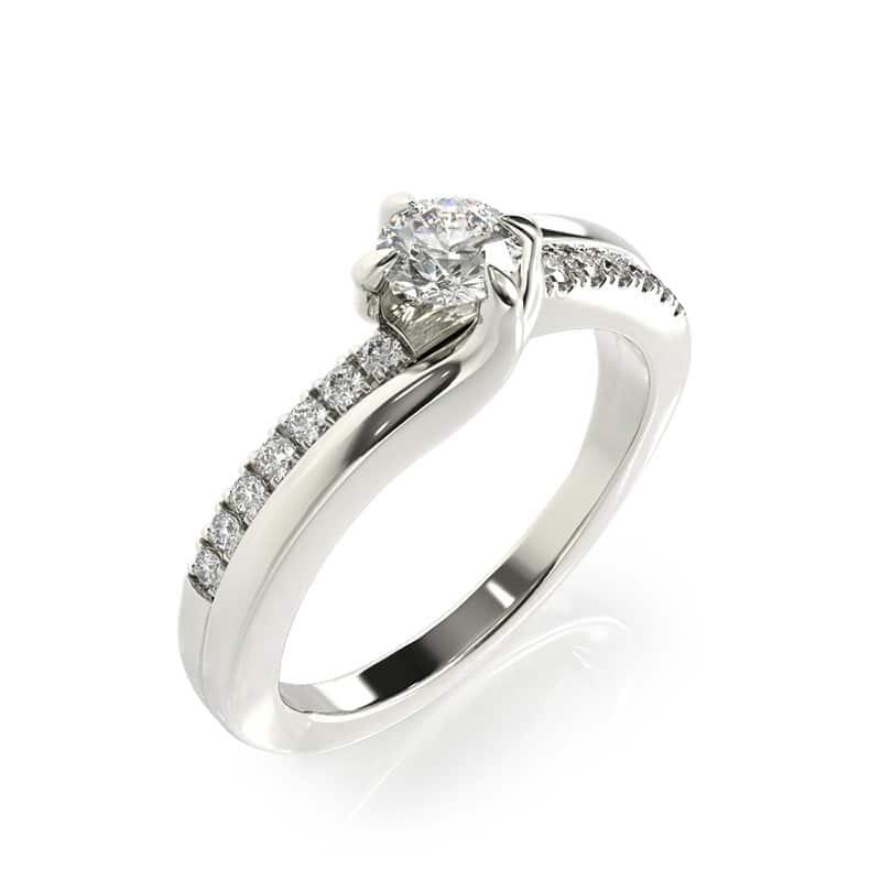 טבעת אירוסין לורט זהב לבן, 0.39 קראט