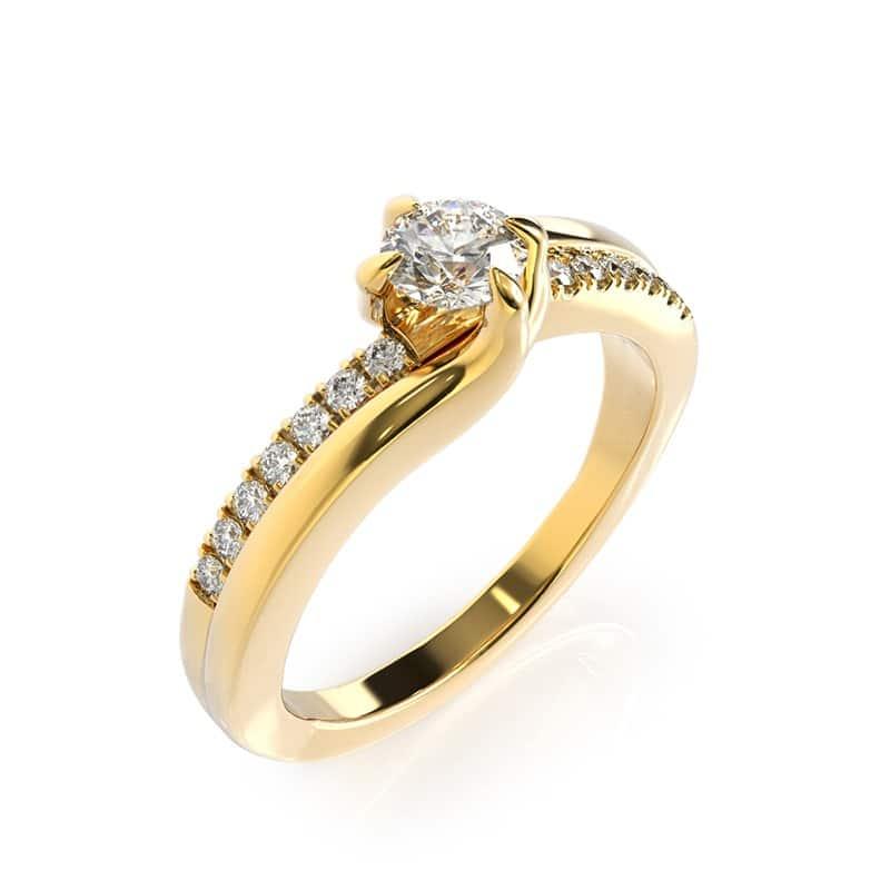 טבעת אירוסין לורט זהב צהוב, 0.39 קראט