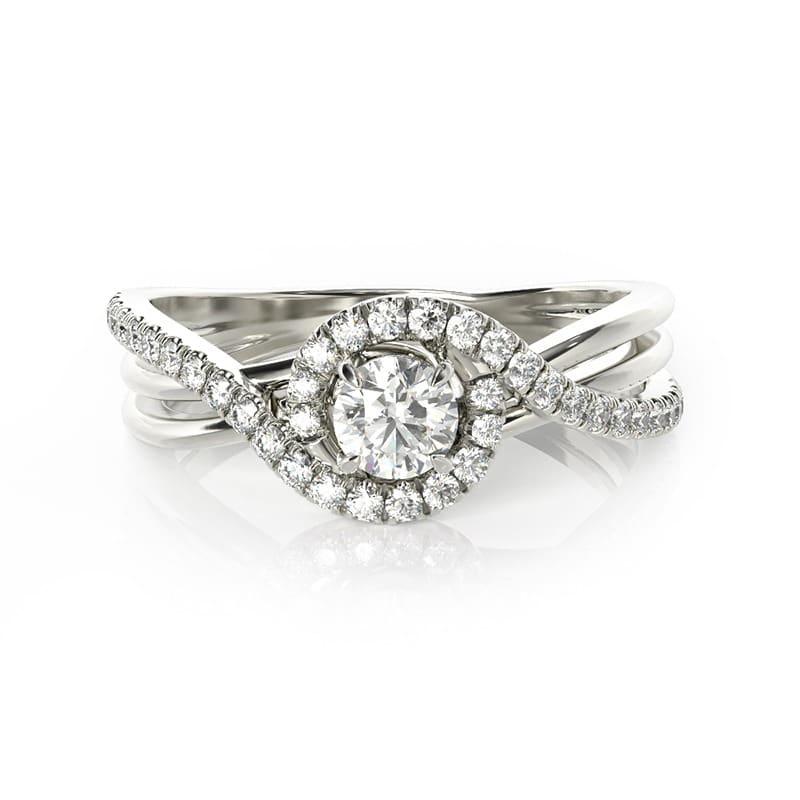 טבעת אירוסין אביניון זהב לבן, 0.52 קראט