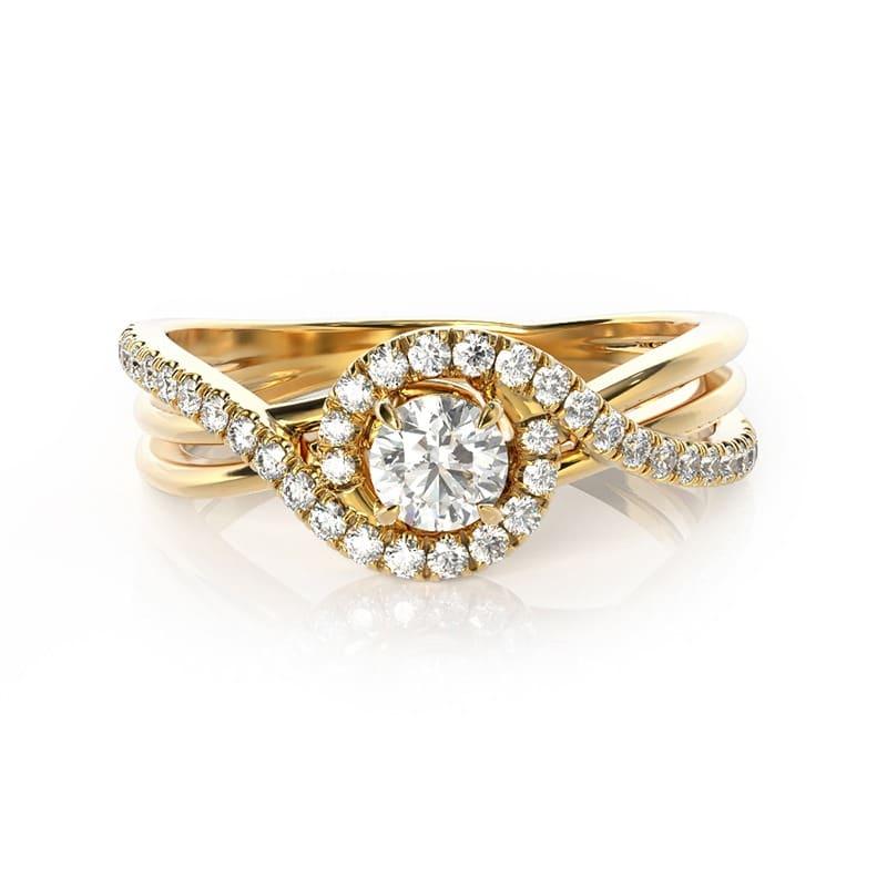 טבעת אירוסין אביניון זהב צהוב, 0.52 קראט