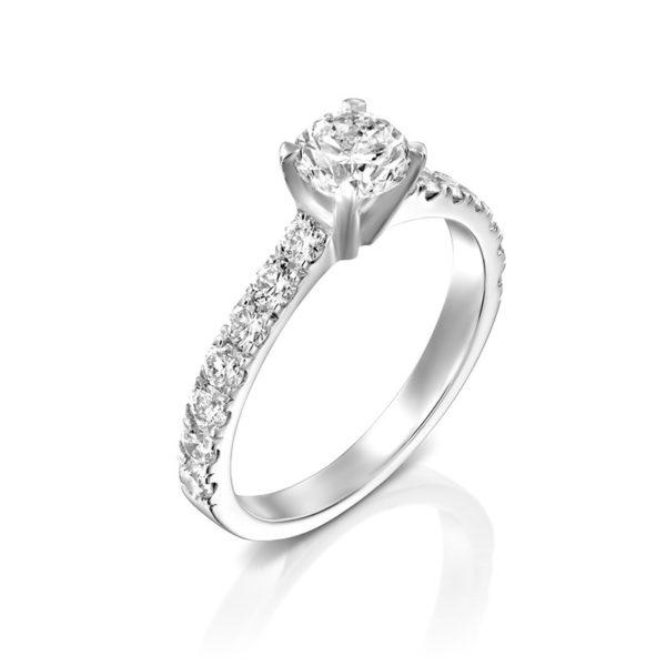 טבעת אירוסין ברנלי זהב לבן, 1.87 קראט
