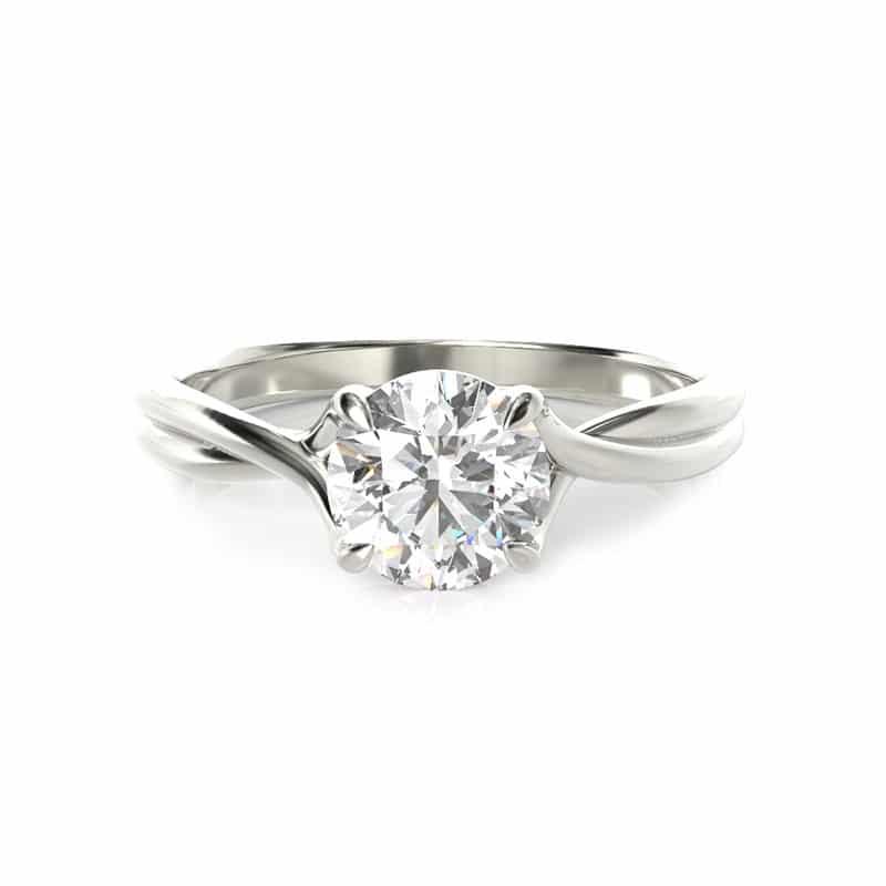 טבעת אירוסין הלסינקי זהב לבן, 0.50 קראט