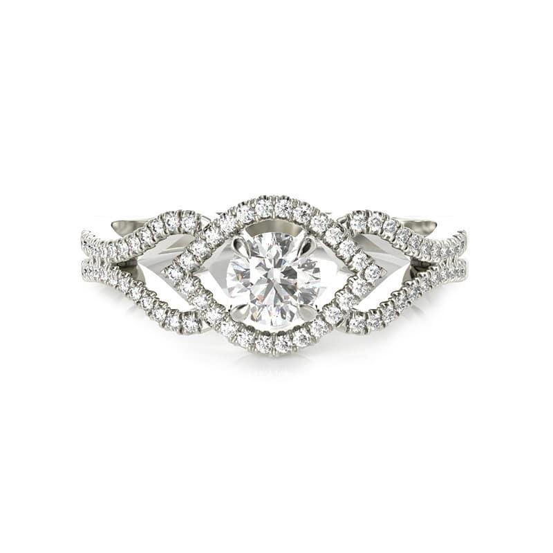טבעת אירוסין גרנדה זהב לבן, 0.50 קראט
