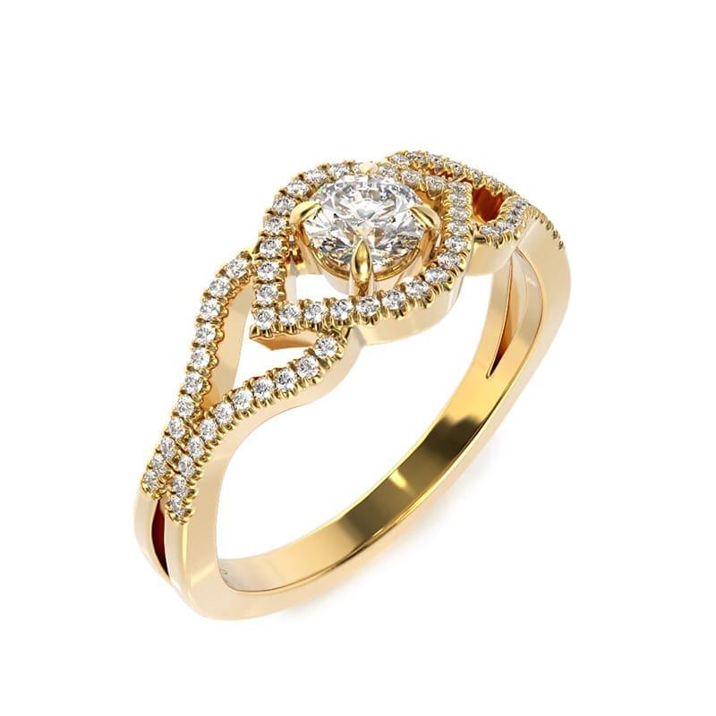 טבעת אירוסין גרנדה זהב צהוב, 0.50 קראט