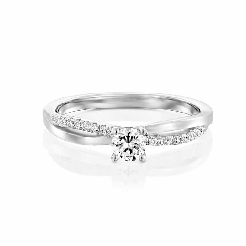 טבעת אירוסין סוונזי בזהב לבן, 0.40 קראט