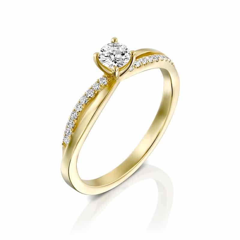 טבעת אירוסין סוונזי בזהב צהוב, 0.40 קראט
