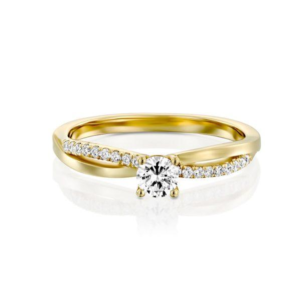 טבעת אירוסין סוונזי בזהב צהוב, 0.25 קראט