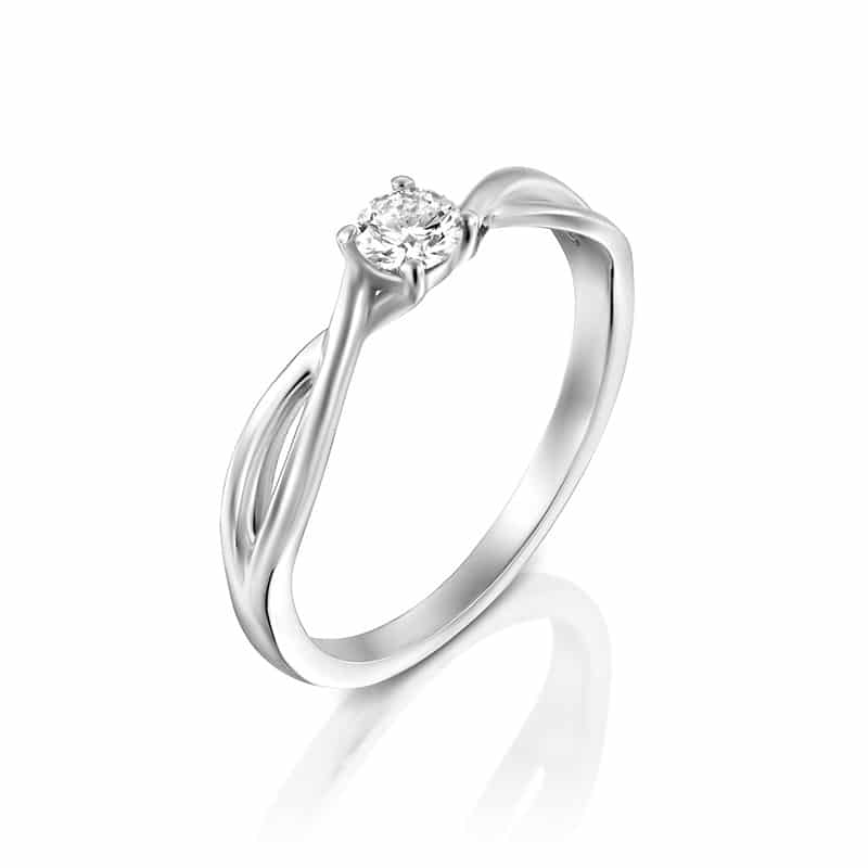 טבעת אירוסין להטי בזהב לבן, 0.22 קראט