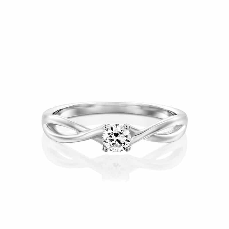 טבעת סוליטר יהלום טווסיט עדין זהב לבן