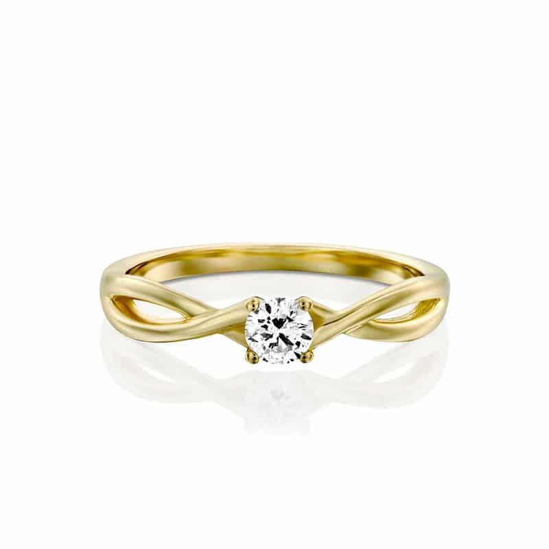 טבעת אירוסין להטי בזהב צהוב, 0.22 קראט