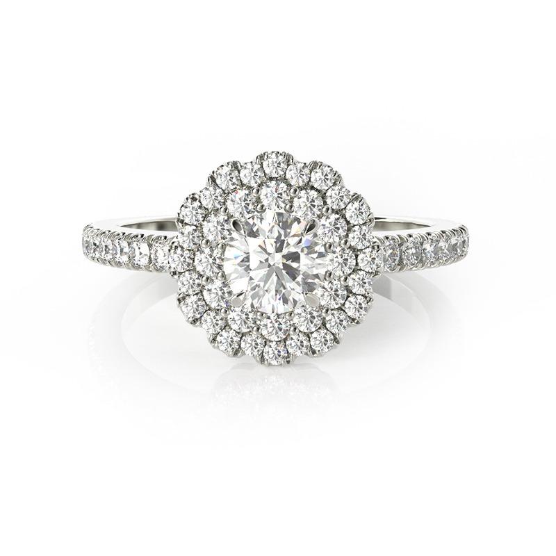 טבעת אירוסין ולנסיה זהב לבן, 0.80 קראט