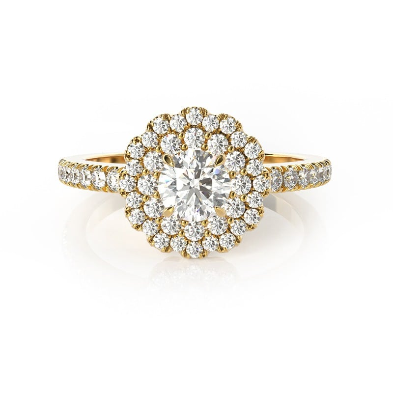 טבעת אירוסין ולנסיה זהב צהוב, 0.80 קראט