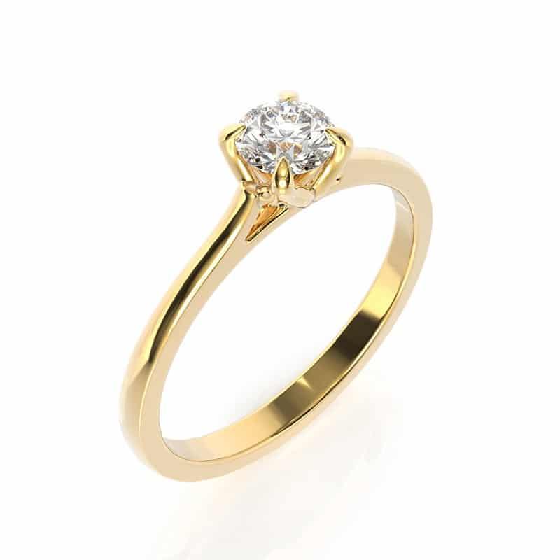 טבעת אירוסין קלן זהב צהוב, 0.3 קראט