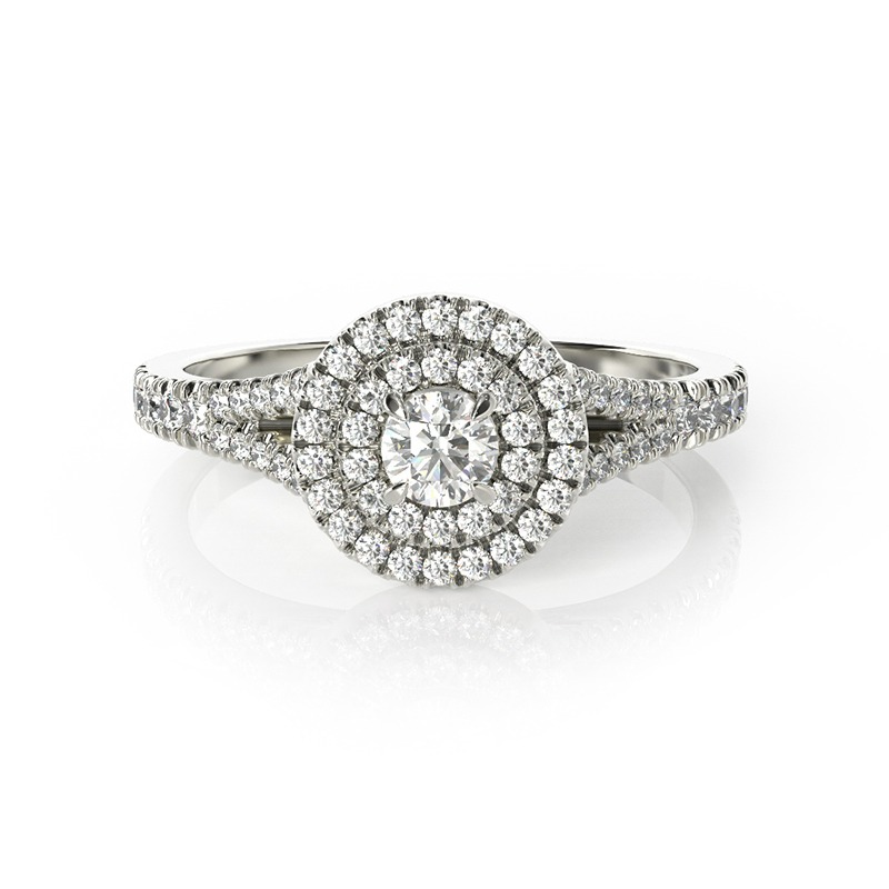 טבעת אירוסין בדלונה זהב לבן, 0.50 קראט