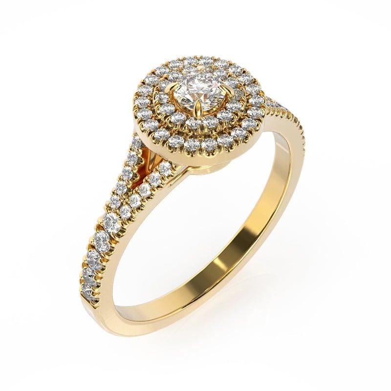 טבעת אירוסין בדלונה זהב צהוב, 0.50 קראט