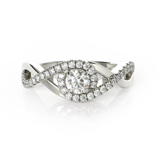 טבעת אירוסין מריאן זהב לבן, 0.47 קראט