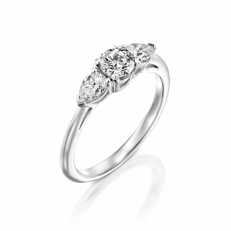 טבעת אירוסין ורסאי זהב לבן, 0.78 קראט