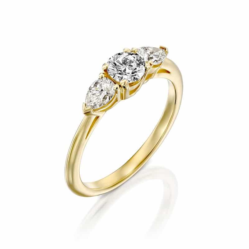 טבעת אירוסין ורסאי זהב צהוב, 0.78 קראט