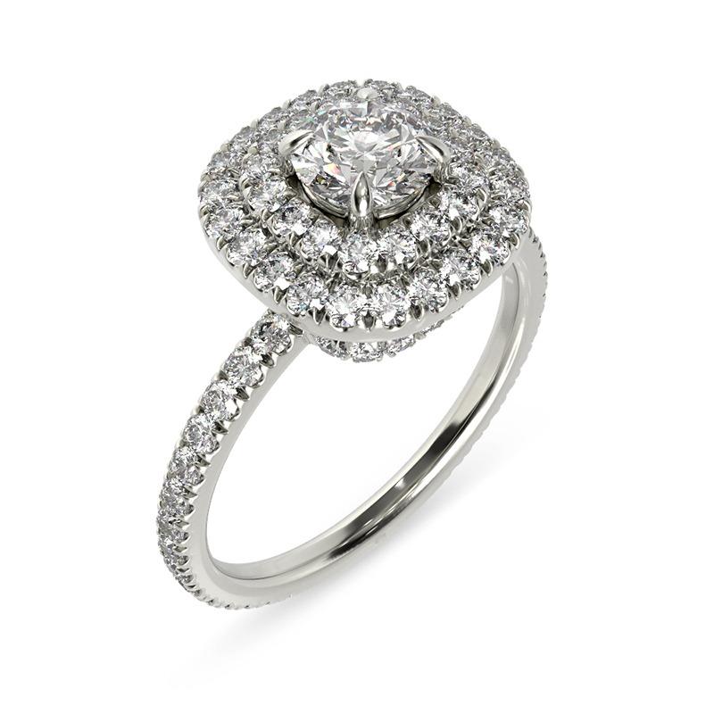טבעת אירוסין פמפלונה זהב לבן, 1.27 קראט