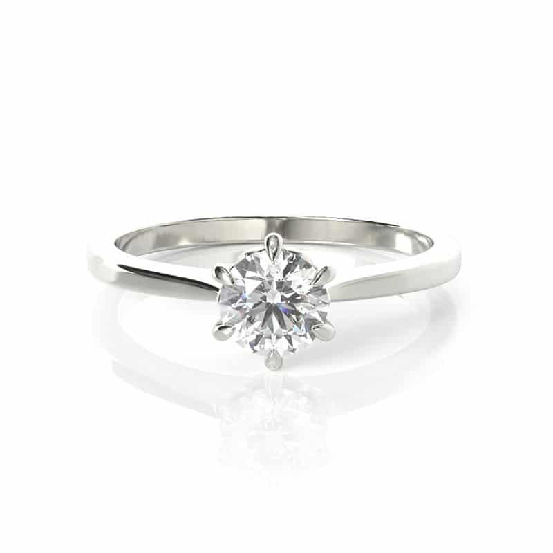 טבעת אירוסין גראץ זהב לבן 0.45 קראט