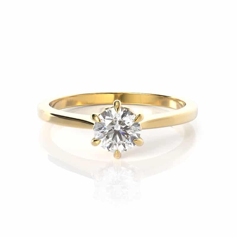 טבעת אירוסין גראץ זהב צהוב, 0.45 קראט