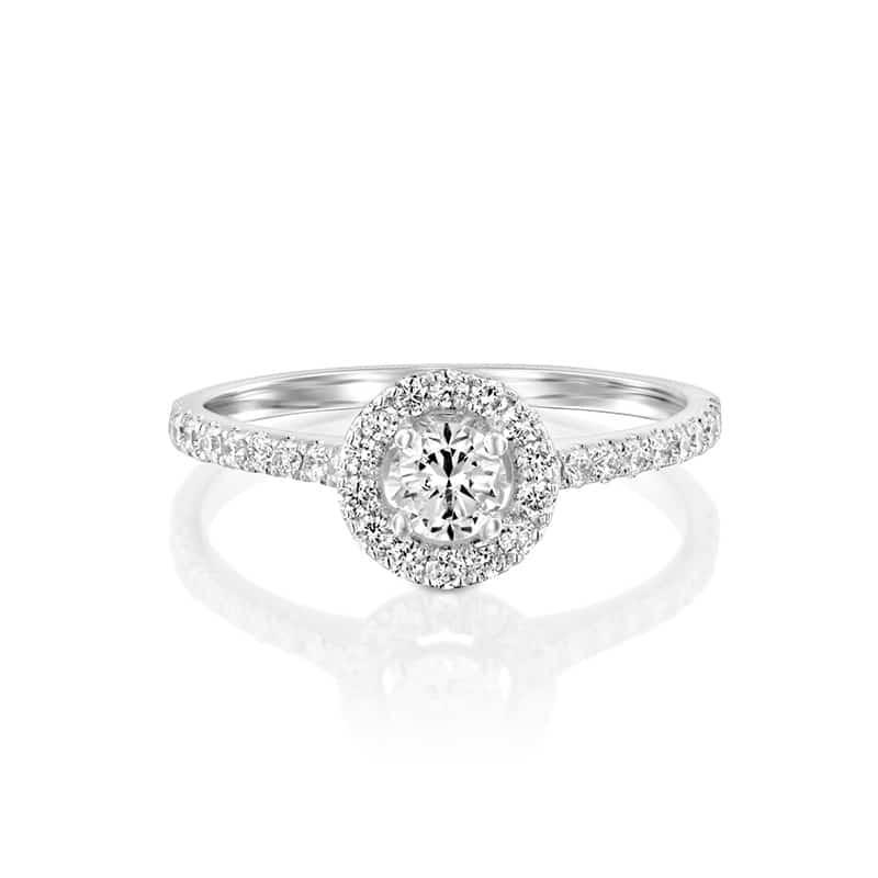 טבעת אירוסין בארי זהב לבן, 0.8 קראט
