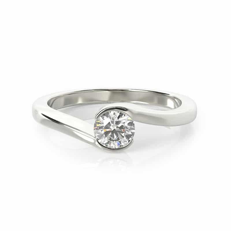 טבעת אירוסין זלצבורג זהב לבן, 0.35 קראט