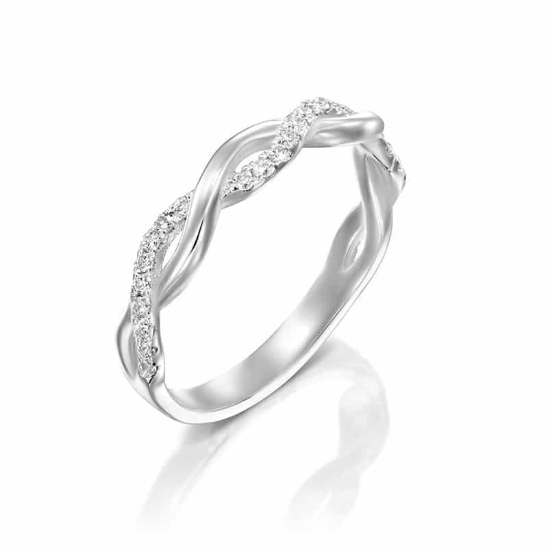 טבעת יהלומים שורה מעוצבת 2 לולאות