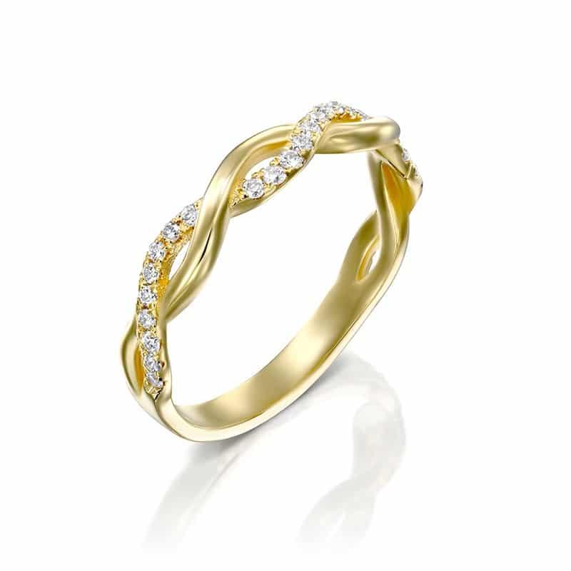 טבעת יהלומים מעוצבת לולאות זהב צהוב