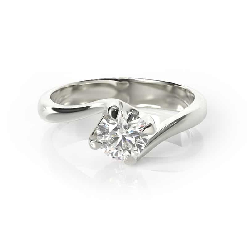 טבעת אירוסין וינה זהב לבן, 0.35 קראט