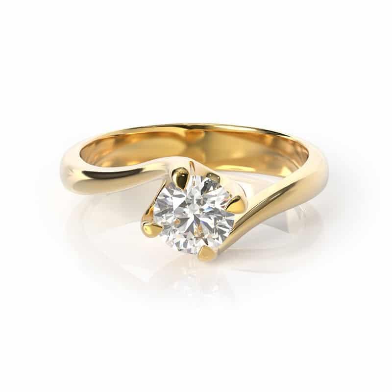 טבעת אירוסין וינה זהב צהוב, 0.35 קראט