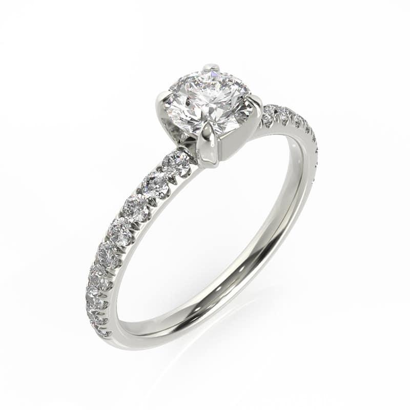 טבעת אירוסין ליל זהב לבן, 0.75 קראט