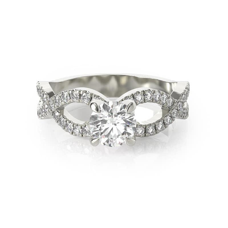 טבעת אירוסין שטרסבורג זהב לבן, 0.77 קראט