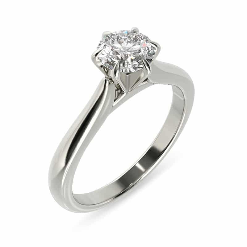 טבעת אירוסין קאסל זהב לבן, 0.45 קראט