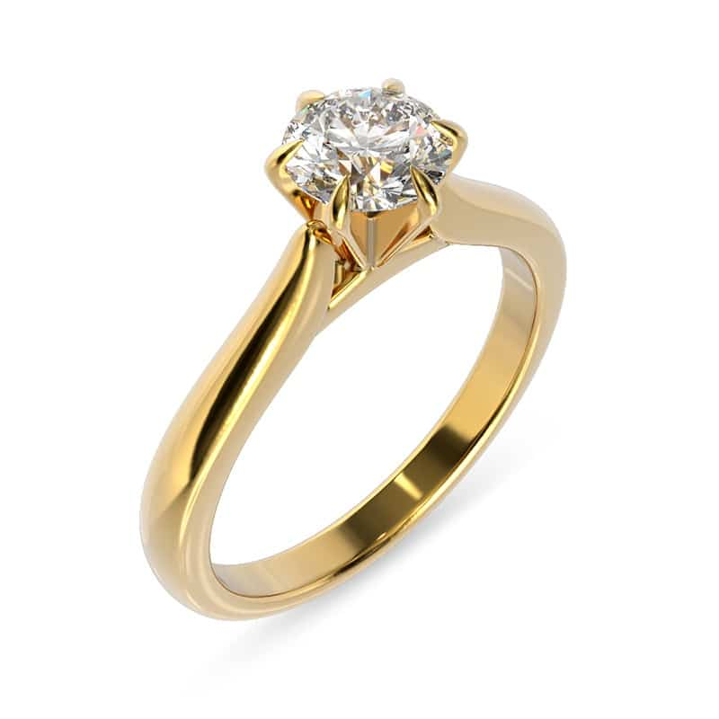 טבעת אירוסין זהב צהוב קלאסית 6 ציפורניים