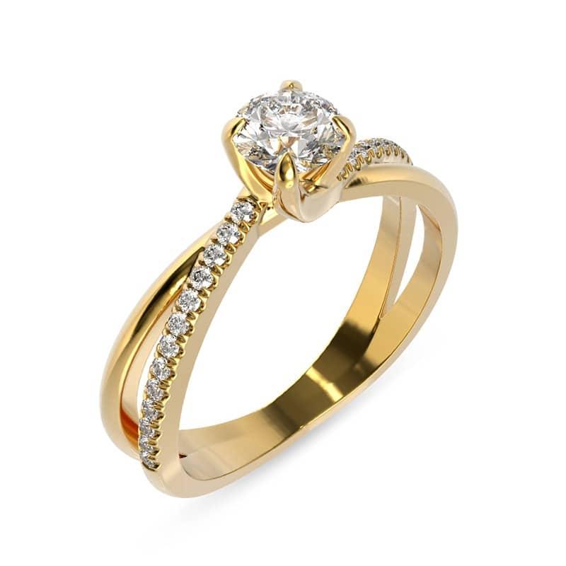 טבעת אירוסין מוסקבה זהב צהוב, 0.51 קראט
