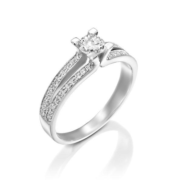 טבעת אירוסין בריסטול זהב לבן, 0.58 קראט