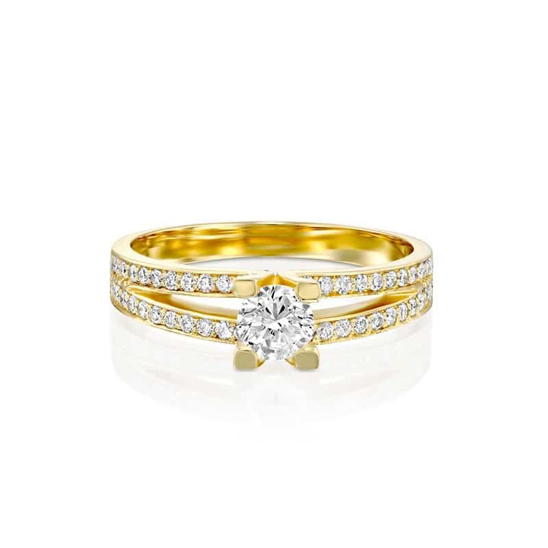 טבעת אירוסין בריסטול זהב צהוב, 0.58 קראט