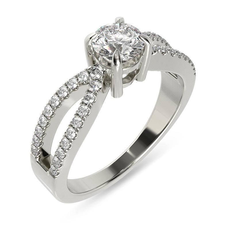 טבעת אירוסין ברמן זהב לבן, 0.53 קראט