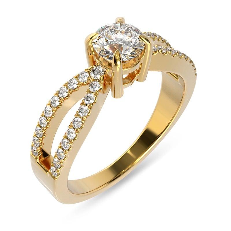 טבעת אירוסין ברמן זהב צהוב, 0.53 קראט
