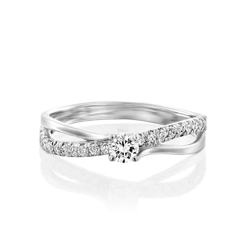 טבעת אירוסין פרסטון זהב לבן, 0.26 קראט