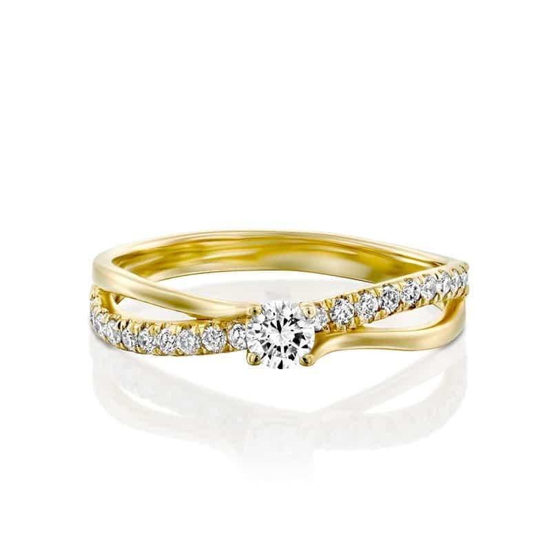 טבעת אירוסין פרסטון זהב צהוב, 0.26 קראט