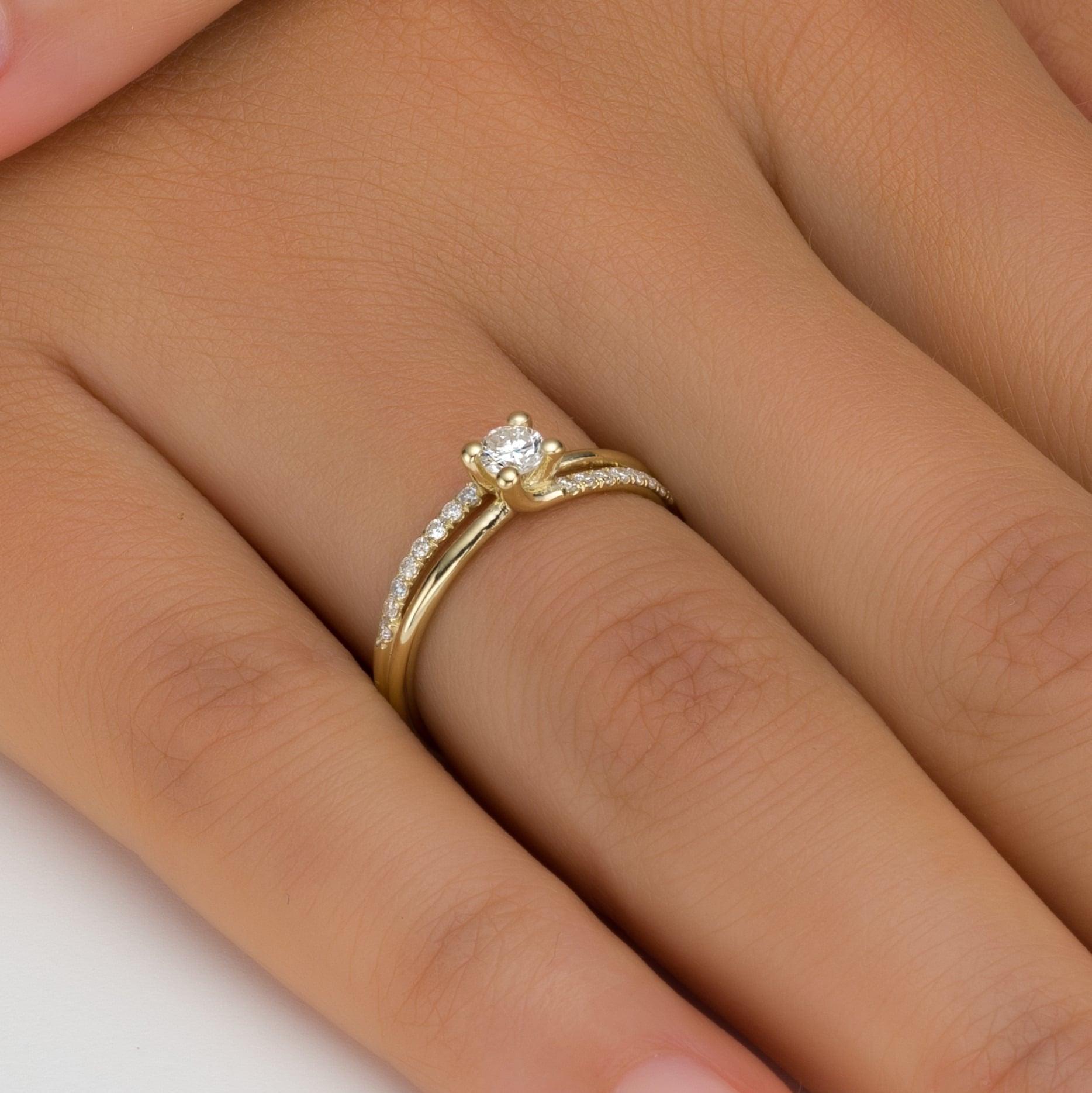 טבעת אירוסין ברייטון זהב צהוב, 0.25 קראט