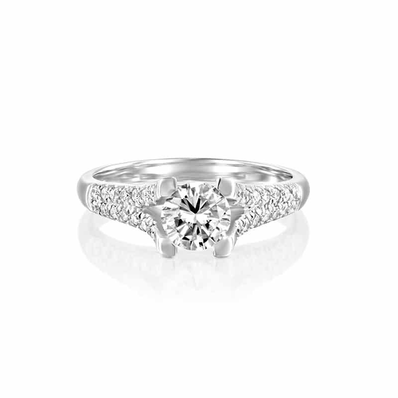 טבעת יהלום מיוחדת ומפוארת בזהב לבן